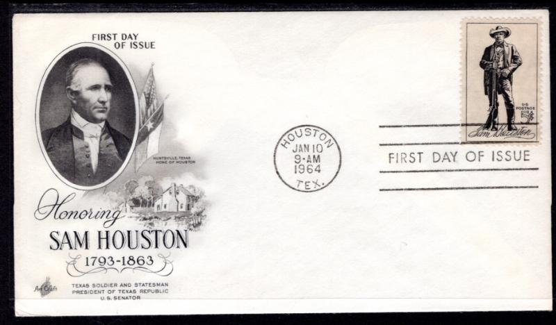 US 1242 Sam Houston Artcraft U/A FDC