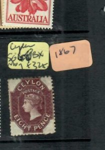 CEYLON (P2212B)  1867 QV 8D SG 68BX  PART MOG ANTIQUE OVER 100 YEARS OLD