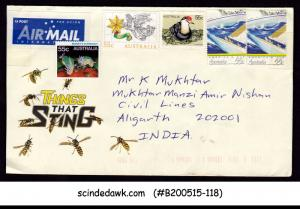 AUSTRALIA - AIR MAIL LETTER ENVELOPE TO INDIA WITH STAMPS