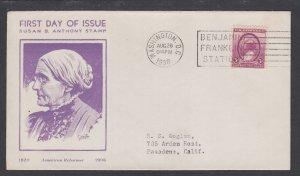 US Planty 784-22 FDC. 1936 Susan B. Anthony, 1st Sudduth cachet for Washington S