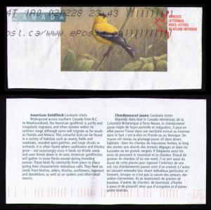 CANADA 2002 BIRDS TOPICAL CUT SQUARE #U168 AMERICAN GOLDFINCH + CANADAPOST LABEL