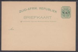 Transvaal H&G 9 mint 1900 ½p Postal Card w/ V.R.I. ovpt, F-VF