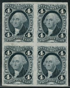 #R22TC3 4¢ PROPRIETARY BLOCK OF 4 PLATE PROOF ON INDIA PAPER XF-SUPERB HW1545