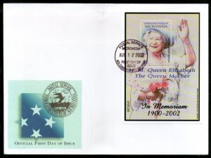 Micronesia 2002 Queen Mother Elizabeth Royal Family Sc 506 M/s FDC # 9592
