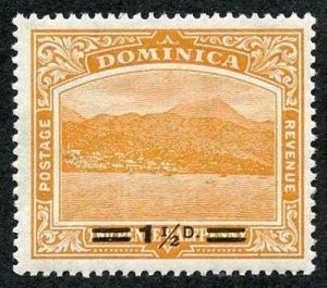 Dominica SG60 1 1/2d on 2 1/2d Orange U/M