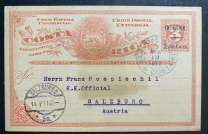 1911 San Jose Costa Rica Postal Stationery Postcard Cover To Salzburg Austria