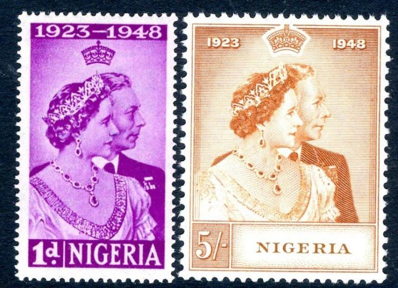 NIGERIA-1948 Royal Silver Wedding Set Sg 62-63 LIGHTLY MOUNTED MINT V17444