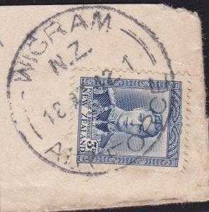 NEW ZEALAND 1942 GVI 3d on piece WIGRAM / AIR FORCE cds.....................9739