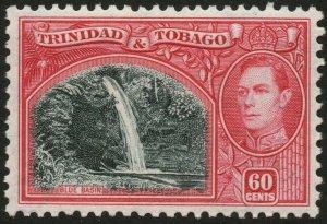 TRINIDAD & TOBAGO-1938-44 60c Myrtle-Green & Carmine Sg 254 UM  V48440