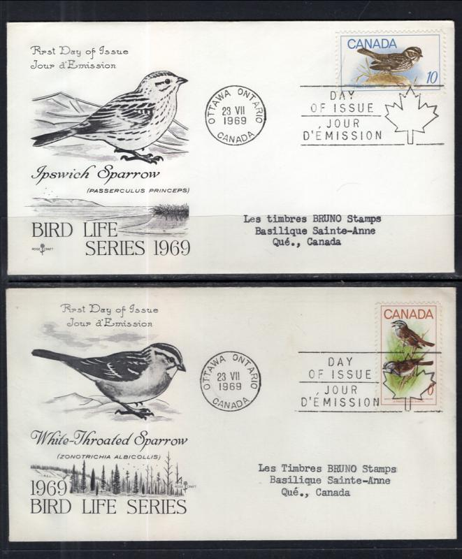 Canada 496-498 Rose Craft Typed Set of Four FDC
