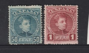 Spain the MH 50c & 1p from the 1900 set