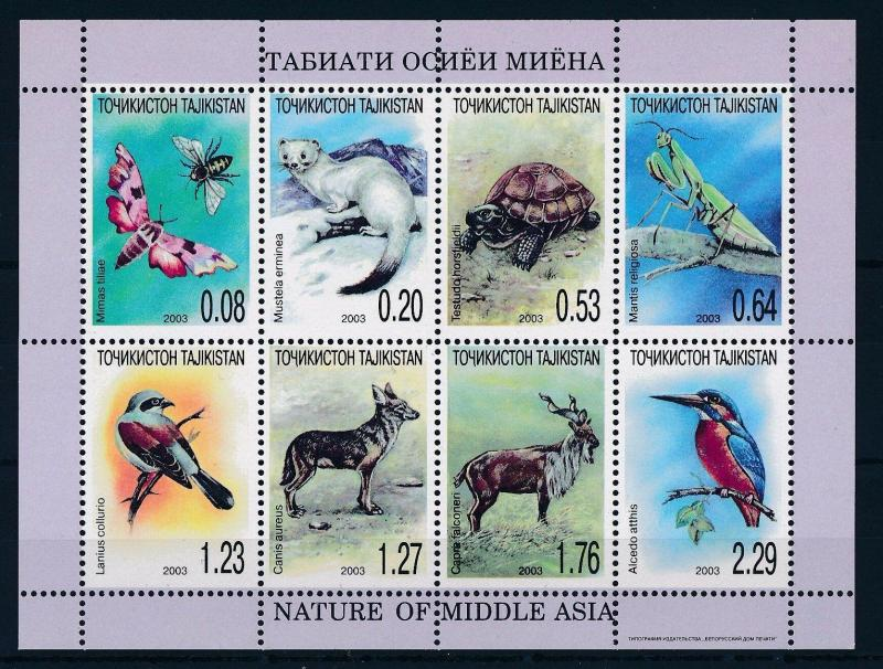 [34759] Tajikistan 2003 Animals Fauna Turtle Grasshopper Birds MNH Sheet