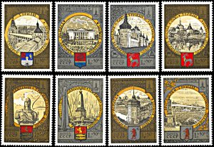 Russia (Soviet Union) B113-B120, MNH, Moscow Olympic Games City Coats of Arms