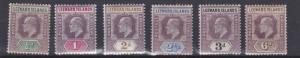 LEEWARD ISLAND 1902      S G  20 - 25    VARIOUS VALUES  TO 6D   MH
