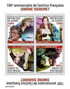 GUINEA - 2021 - Simone Signoret - Perf 4v Sheet -Mint Never Hinged