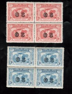 Australia #O1 - #O2 Very Fine Mint Block Set - Bottom Stamps Are Never Hinged