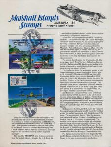 Marshall Islands 114, C6a Souvenir Page, Ameripex Cancel - Historic Mail Planes
