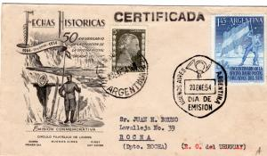 Argentina 1954 Sc#621 Argentina Flag in the Antarctic South Orkneys Reg.Cover
