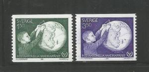 SWEDEN,  1354-1355, MNH, INTL. YEAR OF THE DISABLED