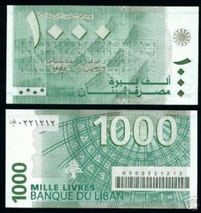 LEBANON # 84 BANKNOTE - PAPER MONEY 1000 LL 2004 NEW UNCIRCULATED