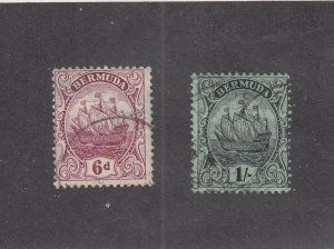 BERMUDA (MK4922) # 47-48  FVF-USED 6d,1sh CARAVEL / CLARET/BLACK & GREEN CV $14