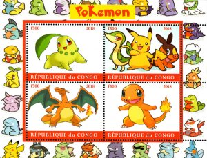 Congo 2018 Pokemon Cartoon Characters Pikachu 4v Mint S/S. (#06)