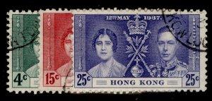 HONG KONG GVI SG137-139, coronation set, FINE USED. Cat £15.