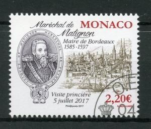 Monaco 2017 CTO Marshal of Matignon Mayor of Bordeaux Royal Visit 1v Set Stamps