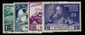 NYASALAND PROTECTORATE GVI SG163-166, anniversary of UPU set, FINE USED.