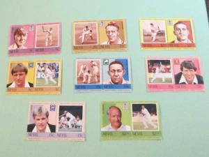 Nevis - 383-90, MNH Set (Pairs). Cricket Players. SCV - $2.50