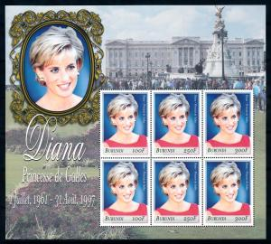 [91873] Burundi 1999 Royalty Princess Diana Sheet MNH
