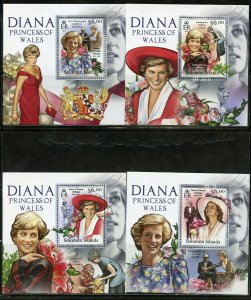 SOLOMON  ISLANDS NEVER OFFERED 2012 PRINCESS DIANA SET OF 4  DELUXE S/S MINT NH