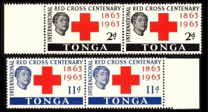 Tonga 1963 Red Cross Sg141/Sg142 Marginals Pairs MNH