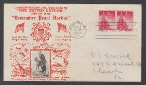 US Planty 907-36 FDC. 1943 2c United Nations, Crosby photo cachet, addressed