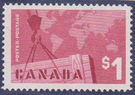 Canada USC #411i Mint VF-NH 1963 $1 Export Low Fluorescent Paper. Cat. $50.