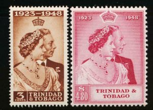 TRINIDAD & TOBAGO 64-65 MINT LH 1948 SILVER WEDDING KGVI