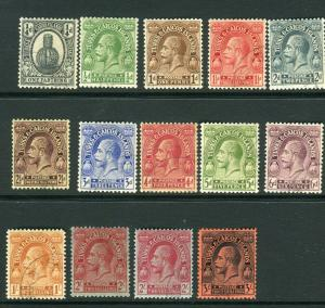 TURKS & CAICOS ISLANDS-1922-26  A fine used set to 3/- Sg 162-175