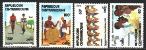 Central African Republic. 1986. 1212-15. Friendship with France, cycling. MNH.