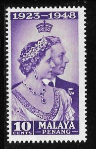 Malaya Penang 1: 10c King George VI and Queen Elizabeth, MH, F-VF