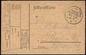 Germany WWI 1915 Navy SMS Prinzregent Luitpold MSP139 Feldpost Cover 75505