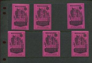 6 VINTAGE 1928  GERMANY SAALFELD UND MAUXION SCHOKOLADEN POSTER STAMPS (L1168)