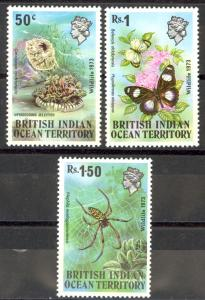 British Indian Ocean Territory Sc# 54-56 MNH 1973 Fauna