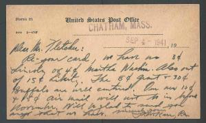 1941 U.S.Post Office Dept Official Business Card Form #21 From Chatham See Info