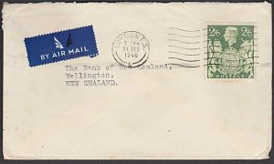 GB 1946 2/6d single franking rate airmail cover London to New Zealand.......L372