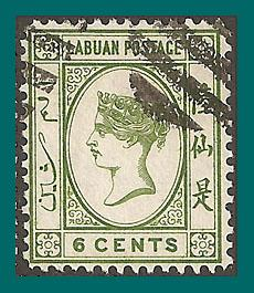 Labuan 1892 Queen Victoria, 6c no dot, cancelled #34,SG40a