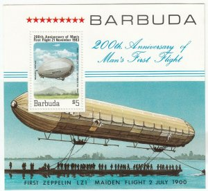Barbuda; Aviation, 200th Anniversary of Flight Sheetlet, 1983, MNH, Zeppelin LZ1