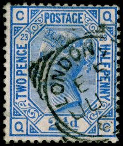 SG157, 2½d blue PLATE 23, USED, CDS. Cat £32. QC