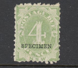 New South Wales SG D5 MNG. 1891 4p green Postage Due with blue SPECIMEN ovpt,
