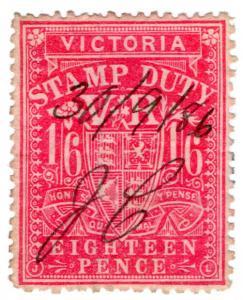 (I.B) Australia - Victoria Revenue : Stamp Duty 1/6d (sideways watermark)