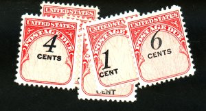 US (6) POSTAGE DUES NUMERAL SHIFTS